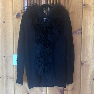 Joie Sweater Cardigan Fur Collar Small